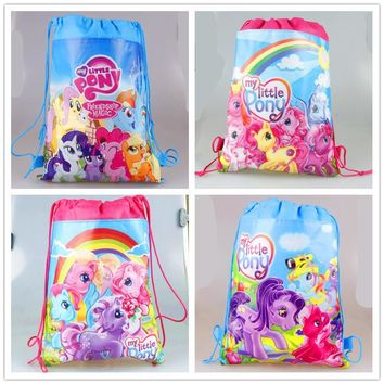 10pcs/lot Drawstring Bags My little pony Theme Non-Woven Fabric Drawstring Backpack Party Decoration Birthday Supplies For Kids
