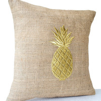 Memorial Day SALE Burlap Pillow Covers with Pineapple Embroidered- Gold Pillows- Pineapple Pillows- 16x16- Modern Decor- Chair Pillow- Couch