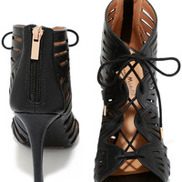 Zella Black Caged Lace-Up Heels