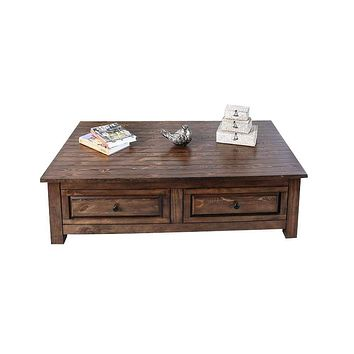 2 Drawer Wooden Coffee Table with Wood Grain Texture, Walnut Brown