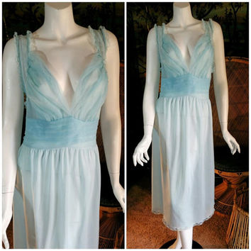 60's Pastel Blue Nightgown by Texsheen, Sheer Chiffon & Lace Nightgown, Sheer Bust Negligee, Light Blue Lingerie, 60's Lingerie, LG size 40