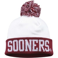 Oklahoma Sooners Top of the World Grid Iron Cuffed Knit Beanie with Pom – White