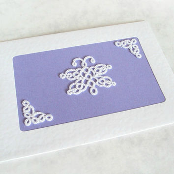 Butterfly Greeting Card - White Tatting Lace on Purple - Handmade - Blank Inside