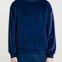 Navy Slouch Velour Sweatshirt - New This Week - New In