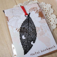 Black Leaf Metal Bookmark Mini Greeting card + Envelope | Korea Stationery | Book Markers Art Filigree | Accessories Stationery