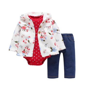 Newborn Baby boy Girls Clothes set Hooded long Sleeve Coat floral+Bodysuits+Pants,autumn winter infant new born outfit 2019  1