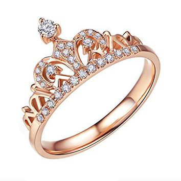 ACEFEEL Rose Gold Plated Cubic Zirconia Crown Tiara Promise Wedding Ring For Her