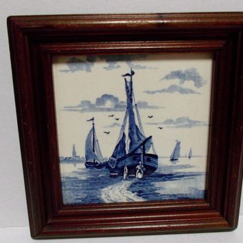 Framed Delft Blue Tile Sailboats Water Seagulls People Vintage Home Decor Trivet