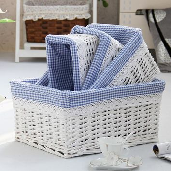 Wicker Storage Basket With Natural Cotton Hemp Lining