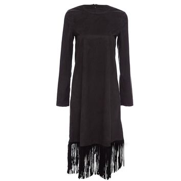 Vintage Round Collar Long Sleeve Pure Color Fringed Midi Dress for Ladies