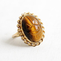 Vintage 10k Gold Filled Carved Tigers Eye Scarab Ring - Retro Size 7 Hallmarked C&C Clark and Coombs Beetle Egyptian Revival Jewelry