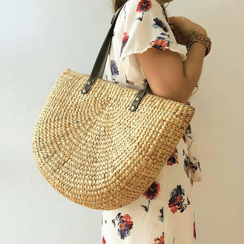 Bridesmaid Gift /Straw Bag Summer / Straw basket / Beach Bag / Bag / Hand bags/ wicker tote / Straw tote / Tote bag /Straw handbags