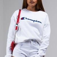 Champion Reverse Weave Signature Sweatshirt in White