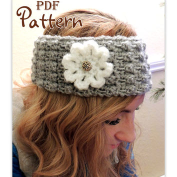 PDF CROCHET PATTERN, Highland Beauty Crochet Headband with Flower, Digital Download, Photos, Easy to Follow