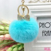 Hot Sale 15 Colors alloy Bow Real Fur Ball Keychain Rex Rabbit Fur Pom Pom Plush Key Chain Keyring Men Women Pompom Keychain 100