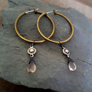 Brass Hoop Antique Silver Gemstone Earrings, Mixed Metal, Ametrine, Rustic Style, Rustic Jewelry, Oxidized Silver Hoop Earrings, Western