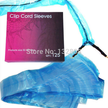 125pcs Tattoo Clip Cord Sleeves Bag Disposable Blue Clip Cord Cover Bags Clean Barrier Supply For Tattoo Clip Cord Free Shipping