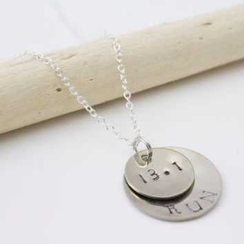 Silver Personalized Half Marathon Necklace - Hand Stamped, Runner, Fitness Jewelry