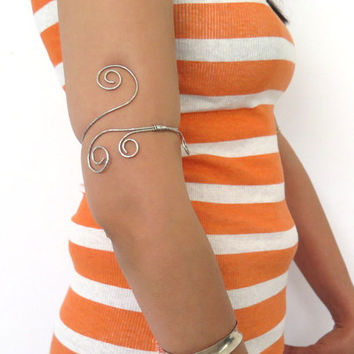 Above the elbow armlet, silver double spiral armband, gypsy arm cuff, gift under 30