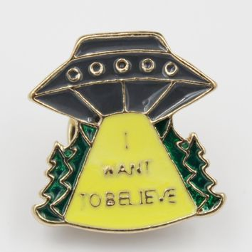 I Want To Believe Alien Space Ship Pin