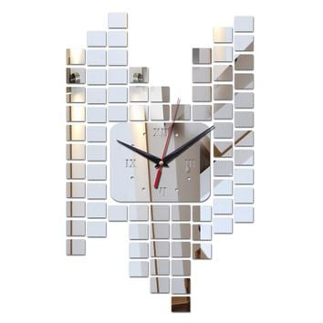 2017 new hot sale acrylic wall art clock safe modern design 3d crystal mirror watches home decoration living room