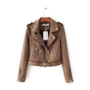 2018 Top Brand S-XL New Spring Fashion Bright Colors Suede Jacket Ladies Basic Street Women Short PU Leather Jacket