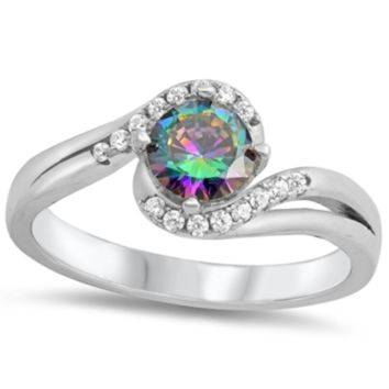 .925 Sterling Silver Rainbow Mystic Topaz Halo Ladies Ring Size 4-10 Brilliant Round Cut Solitaire Split Shank Band