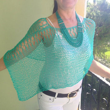 Summer poncho, knit green poncho, womens wear, knitted sweater, linen wrap, beach cover, cotton poncho, loose knit, jade poncho