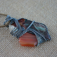 Intricate Blue Mountain Jasper, Carnelian, and Pecos Diamond Sterling Silver Wire-Wrap