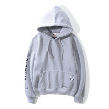 Tide card middle finger cat pocket cheap cat ripndip cat embroidery hooded long - sleeved sweater men and women lovers Gray