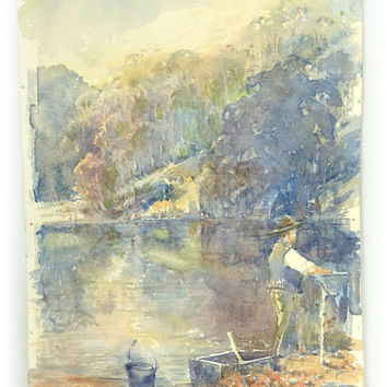 Vintage small original watercolour painting Australian bush riverside camp scene