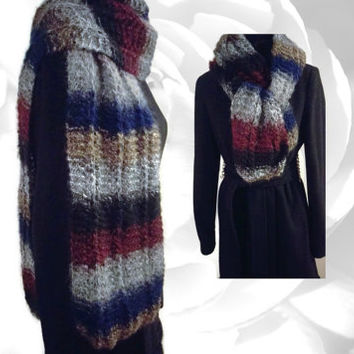 Striped Scarf, Multicolor Scarf, Blue Scarf, Red Scarf, Gray Scarf, Black Scarf, Gold Scarf, Winter Scarf, Warm Scarf, Soft Scarf, Fun Scarf