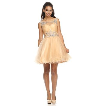 Cap Sleeve Baby Doll Dress Gold Short A Line Poofy Tulle