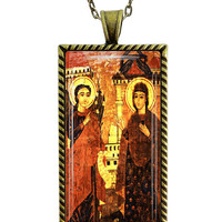 Coptic  Orthodox Annunciation Icon Necklace Ethiopian Religious Glass Tile Pendant Necklace
