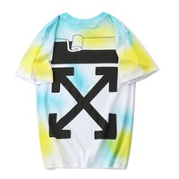 OFF-WHITE Summer Fashion Casual Loose Yellow Gradient Rendering Printed Cotton Short Sleeve T-Shirt