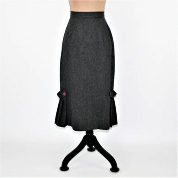 70s 80s Vintage Dark Gray Skirt XS Small High Waist Pencil Skirt Flared Pleated Hem 40s Style ILGWU Vintage Clothing Womens Clothing