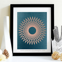 Printable Wall Prints  Rose Gold Foil And Blue Printable  INSTANT DIGITAL DOWNLOAD  Scandinavian Print Art  Geometric Wall Printable Decor