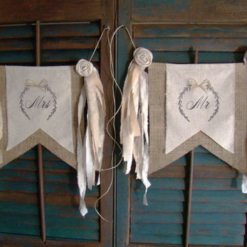 Mr and Mrs Wedding Signs, Mr and Mrs Signs, Mr and Mrs Chair Hangers, Burlap Wedding, Rustic Wedding, Photo Prop, Burlap, Wedding Decor