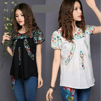 Women's Mexican Boho Traditional Style Floral Embroidered Blouse Shirt