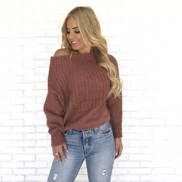 Fall Into You Knit Sweater In Deep Mauve