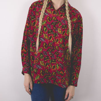 Vintage Colorful Feathers Blouse
