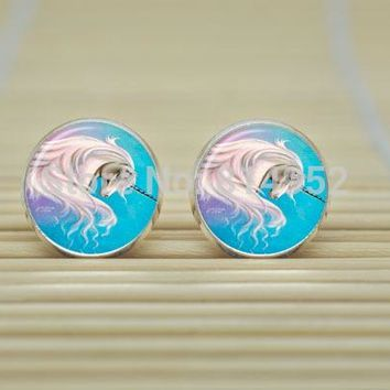 Unicorn Earrings in Glass Round Cabochon Design in Silver or Bronze Metal 1 Pair