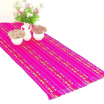 Mexican table runner, Pink Table runner 14x72 Inches, Fiesta Decoration, Cinco de Mayo, Boho Chic Decor, 14X72TRC710