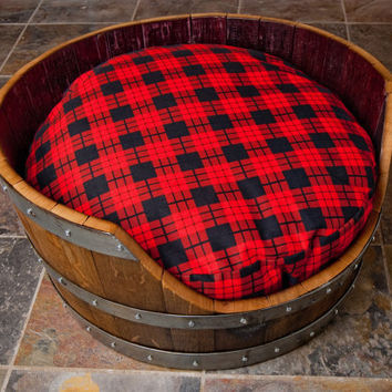 Wine Barrel Dog Bed with Plaid Bed by alpinewinedesign on Etsy