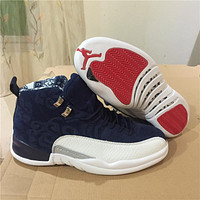 Air Jordan 12 Retro Navy/White Sneaker Shoe 40-47