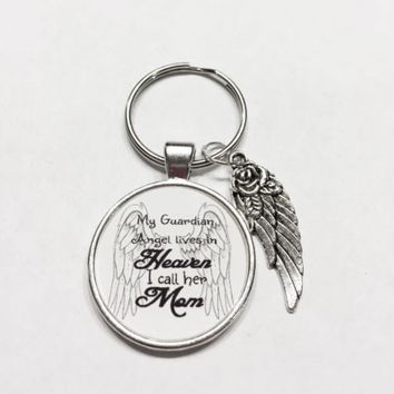Mother Mom Lives In Heaven Memory Guardian Angel Wing Miss You Keychain
