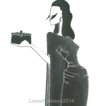 The Raven / fashion illustration / 1940s evening gown / original pencil drawing / art / gift