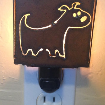Dog CHUBBY DOG  nightlight night light made of Rustic Rusty Rusted Recycled Metal