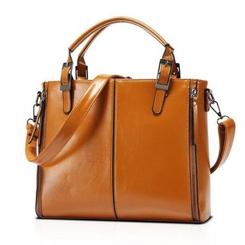 Oil Wax Leather Large Capacity Tote Bag