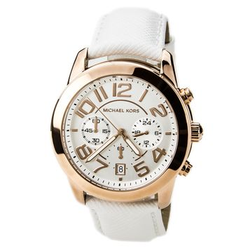 Michael Kors MK2289 Women's Mercer Chronograph Beige Dial White Leather Strap Watch